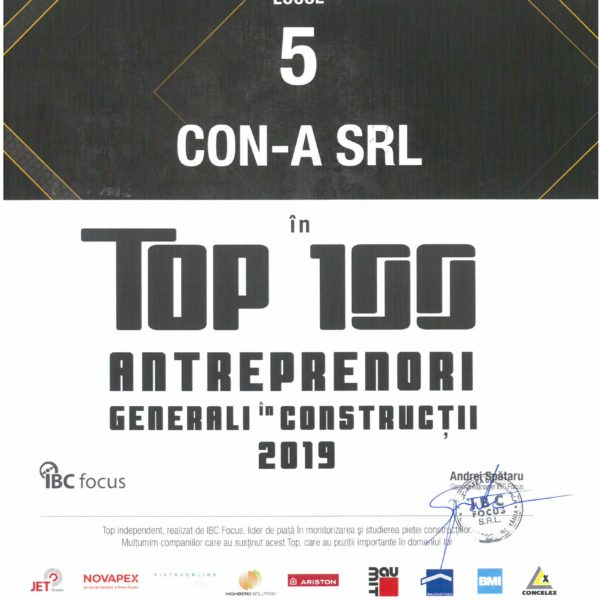 CON-A ranks 5th place in Top 100 General Contractors in Construction, according to IBC Focus